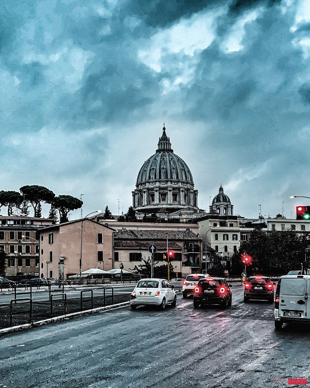 Dramatic Sky over St. Peter's in Rome